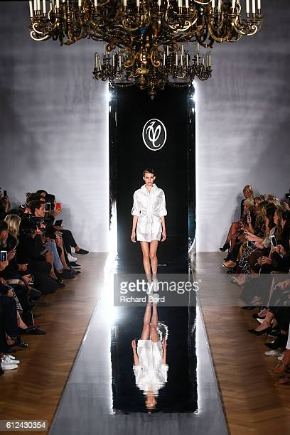 Model walks the runway during the Valentin Yudashkin show as part of the Paris Fashion Week Womenswear Spring/Summer 2017 at Hotel Westin on October...