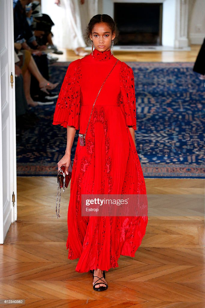 A model walks the runway during the Valentino designed by Pier Paolo Piccioli show as part of the Paris Fashion Week Womenswear Spring/Summer 2017 on October 2, 2016 in Paris, France.