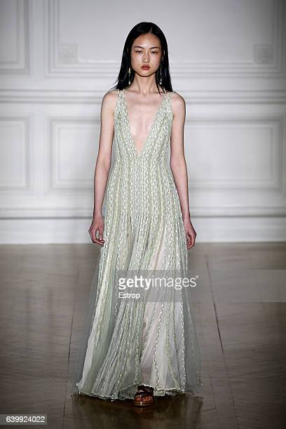 A model walks the runway during the Valentino designed by Pier Paolo Piccioli Spring Summer 2017 show as part of Paris Fashion Week on January 25...
