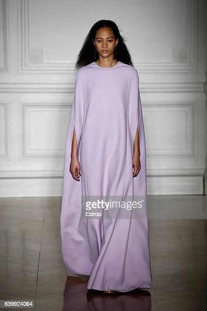 Model walks the runway during the Valentino designed by Pier Paolo Piccioli Spring Summer 2017 show as part of Paris Fashion Week on January 25, 2017...