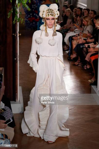 Model walks the runway during the Valentino Fall/Winter 2019 2020 show as part of Paris Fashion Week on July 03, 2019 in Paris, France.