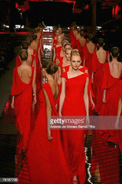 Model walks the runway during the Valentino fashion show, part of the Paris Spring/Summer 2008 Haute Couture Fashion Week on January 23, 2008 in...