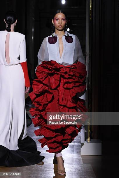 Model walks the runway during the Valentino Haute Couture Spring/Summer 2020 show as part of Paris Fashion Week on January 22, 2020 in Paris, France.