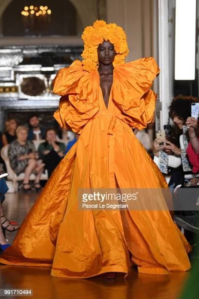 A model walks the runway during the Valentino Haute Couture Fall Winter 2018/2019 show as part of Paris Fashion Week on July 4 2018 in Paris France