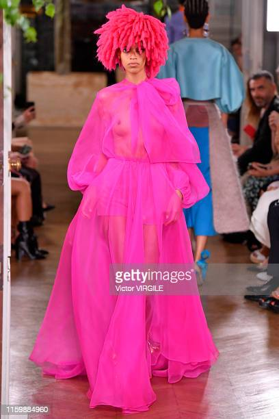 A model walks the runway during the Valentino Haute Couture Fall/Winter 2019 2020 show as part of Paris Fashion Week on July 03 2019 in Paris France