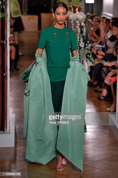 Model walks the runway during the Valentino Haute Couture Fall/Winter 2019 2020 show as part of Paris Fashion Week on July 03, 2019 in Paris, France.