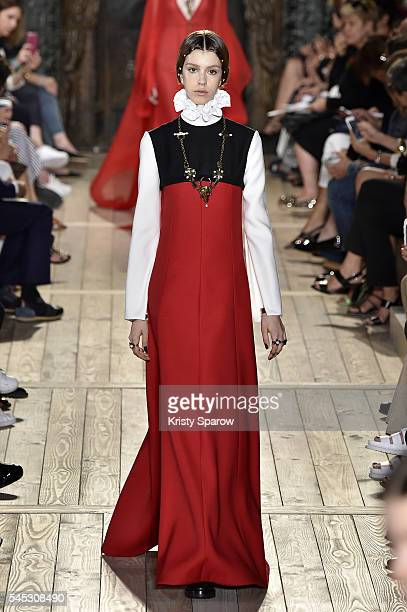Model walks the runway during the Valentino Haute Couture Fall/Winter 2016-2017 show as part of Paris Fashion Week on July 6, 2016 in Paris, France.