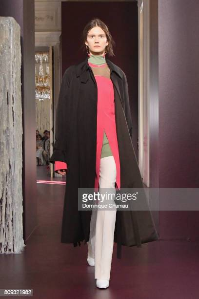Model walks the runway during the Valentino Haute Couture Fall/Winter 2017-2018 show as part of Haute Couture Paris Fashion Week on July 5, 2017 in...