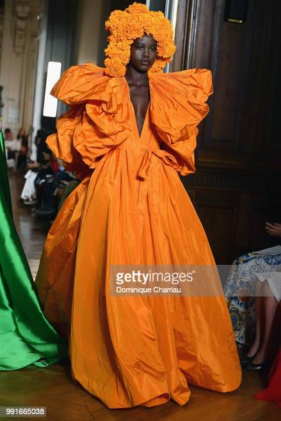 Model walks the runway during the Valentino Haute Couture Fall/Winter 2018-2019 show as part of Haute Couture Paris Fashion Week on July 4, 2018 in...