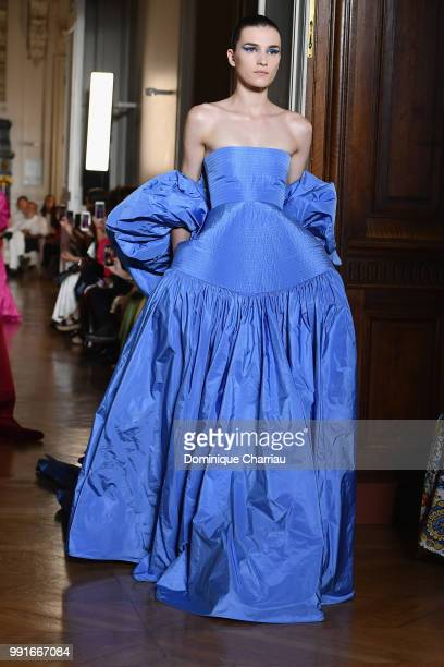 A model walks the runway during the Valentino Haute Couture Fall/Winter 20182019 show as part of Haute Couture Paris Fashion Week on July 4 2018 in...