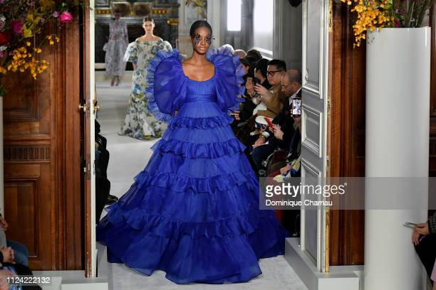 A model walks the runway during the Valentino Haute Couture Spring Summer 2019 show as part of Paris Fashion Week on January 23 2019 in Paris France