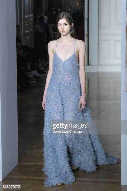 A model walks the runway during the Valentino Haute Couture Spring Summer 2017 show as part of Paris Fashion Week on January 25 2017 in Paris France