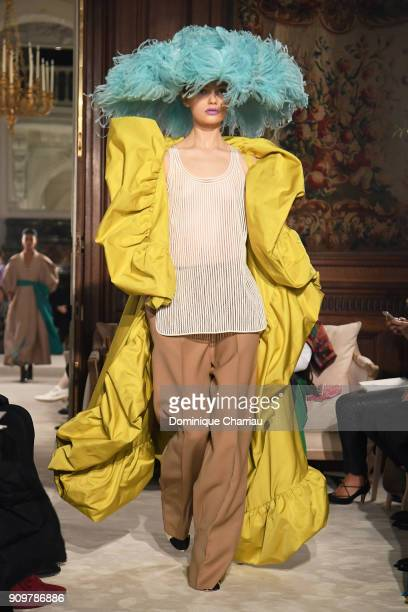 A model walks the runway during the Valentino Haute Couture Spring Summer 2018 show as part of Paris Fashion Week on January 24 2018 in Paris France