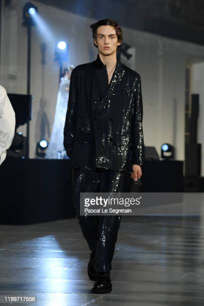 Model walks the runway during the Valentino Menswear Fall/Winter 2020-2021 show as part of Paris Fashion Week on January 15, 2020 in Paris, France.