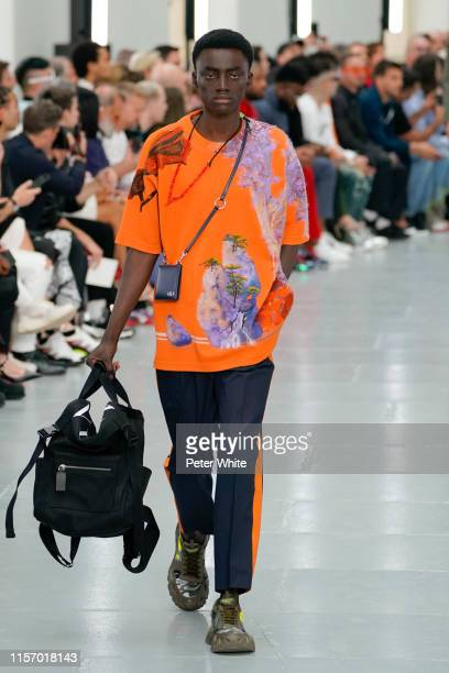 Model walks the runway during the Valentino Menswear Spring Summer 2020 show as part of Paris Fashion Week on June 19, 2019 in Paris, France.
