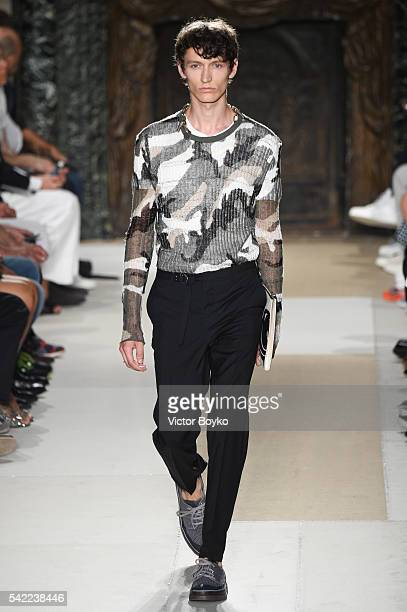 Model walks the runway during the Valentino Menswear Spring/Summer 2017 show as part of Paris Fashion Week on June 22, 2016 in Paris, France.