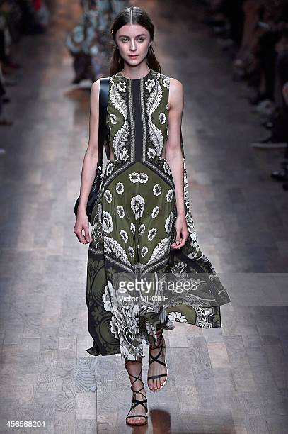 A model walks the runway during the Valentino Ready to Wear show as part of the Paris Fashion Week Womenswear Spring/Summer 2015 on September 30 2014...