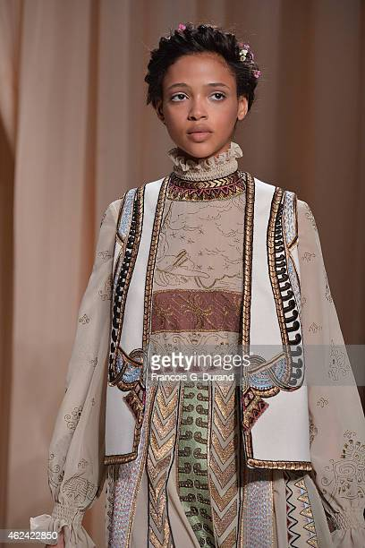 A model walks the runway during the Valentino show as part of Paris Fashion Week Haute Couture Spring/Summer 2015 on January 28 2015 in Paris France