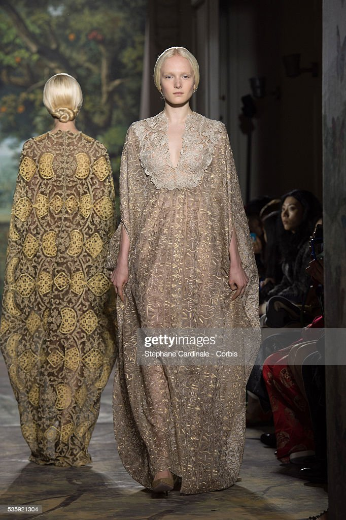 A model walks the runway during the Valentino show as part of Paris Fashion Week Haute Couture Spring/Summer 2014, in Paris.