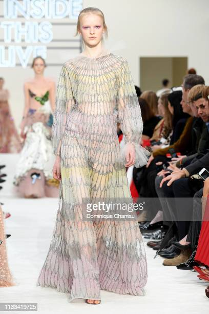 Model walks the runway during the Valentino show as part of the Paris Fashion Week Womenswear Fall/Winter 2019/2020 on March 03, 2019 in Paris,...