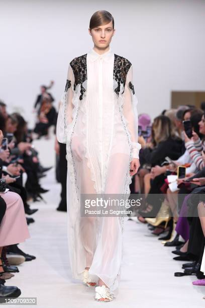 Model walks the runway during the Valentino show as part of the Paris Fashion Week Womenswear Fall/Winter 2020/2021 on March 01, 2020 in Paris,...