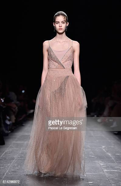 Model walks the runway during the Valentino show as part of the Paris Fashion Week Womenswear Fall/Winter 2016/2017 on March 8, 2016 in Paris, France.