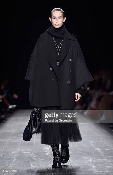 A model walks the runway during the Valentino show as part of the Paris Fashion Week Womenswear Fall/Winter 2016/2017 on March 8 2016 in Paris France