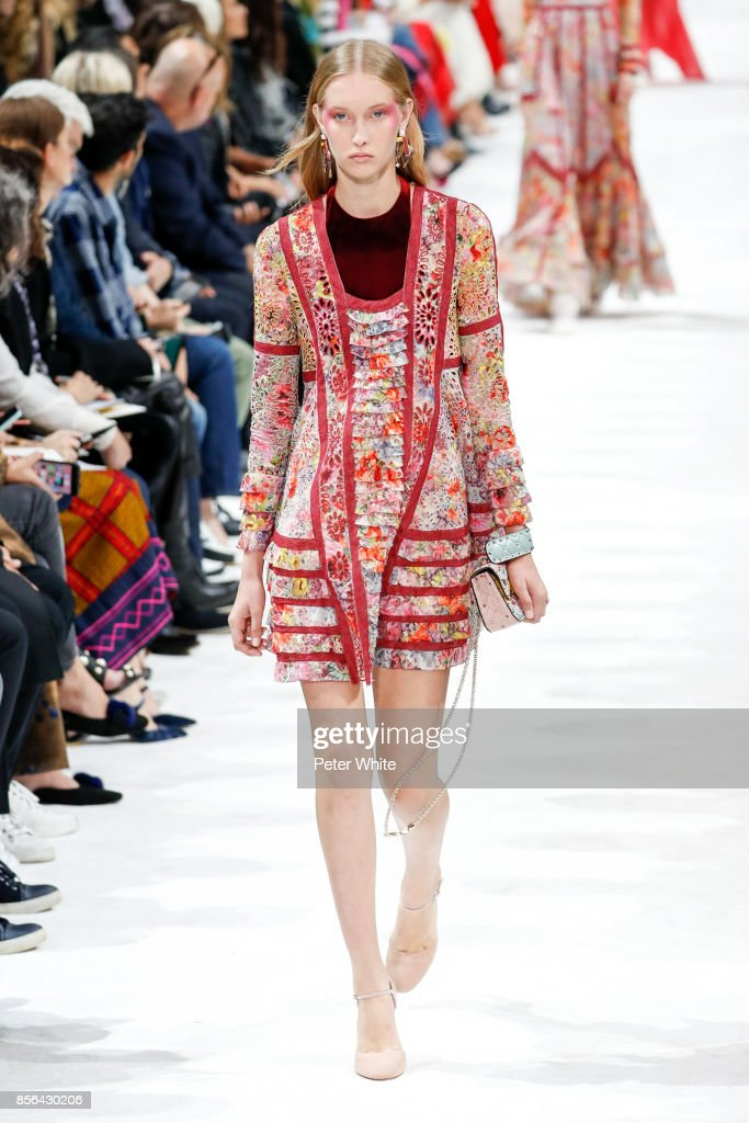 A model walks the runway during the Valentino show as part of the Paris Fashion Week Womenswear Spring/Summer 2018 on October 1, 2017 in Paris, France.