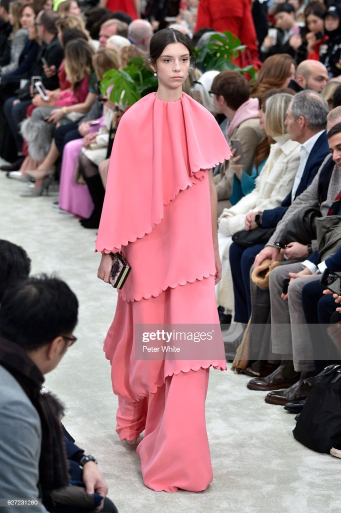 A model walks the runway during the Valentino show as part of the Paris Fashion Week Womenswear Fall/Winter 2018/2019 on March 4, 2018 in Paris, France.