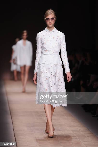 A model walks the runway during the Valentino Spring / Summer 2013 show as part of Paris Fashion Week at Espace Ephemere Tuileries on October 2 2012...