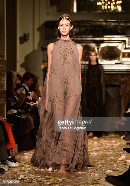 A model walks the runway during the Valentino Spring Summer 2016 show as part of Paris Fashion Week on January 27 2016 in Paris France