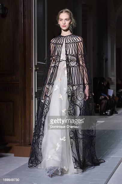 A model walks the runway during the Valentino Spring/Summer 2013 HauteCouture show as part of Paris Fashion Week at Hotel Salomon de Rothschild on...