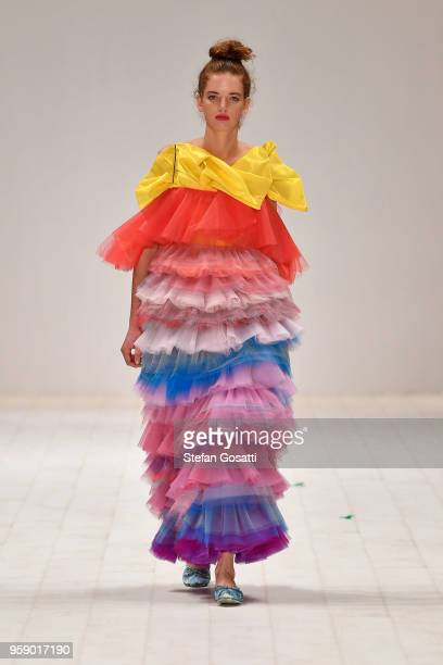 A model walks the runway during the VALUSTA show during the Raffles International Showcase show at MercedesBenz Fashion Week Resort 19 Collections at...