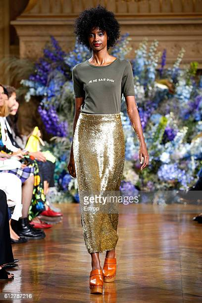 A model walks the runway during the Vanessa Seward show as part of the Paris Fashion Week Womenswear Spring/Summer 2017 on October 4 2016 in Paris...