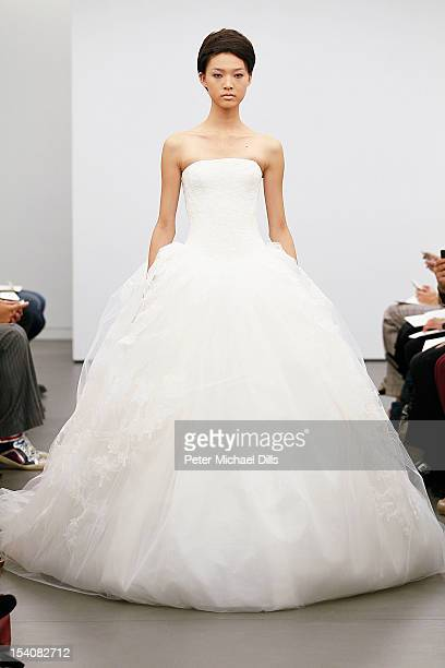 A model walks the runway during the Vera Wang 2013 Bridal Collection show on October 12 2012 in New York City