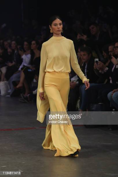A model walks the runway during the Vero Diaz fashion show as part of the MercedesBenz Fashion Week Mexico Fall/Winter 2019 Day 3 at Fronton Mexico...