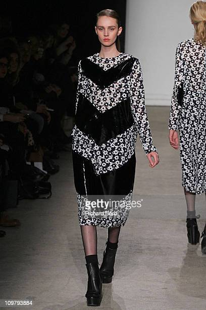 A model walks the runway during the Veronique Leroy Ready to Wear Autumn/Winter 2011/2012 show during Paris Fashion Week at Palais De Tokyo on March...