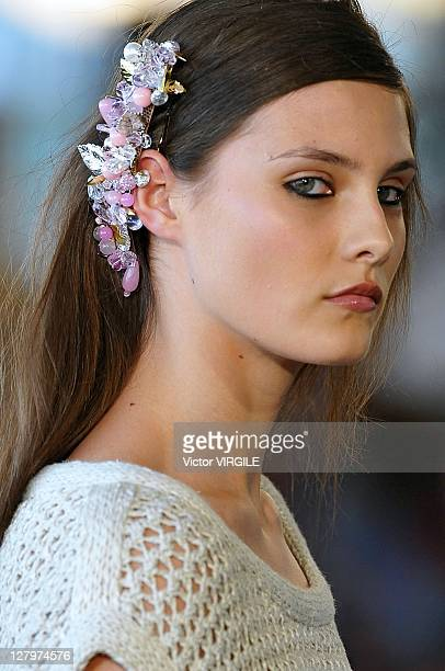Model walks the runway during the Veronique Leroy Ready to Wear Spring / Summer 2012 show during Paris Fashion Week on October 1, 2011 in Paris,...