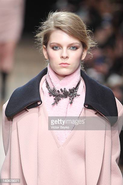 A model walks the runway during the Veronique Leroy ReadyToWear Fall/Winter 2012 show as part of Paris Fashion Week at Lycee Henri IV on March 3 2012...