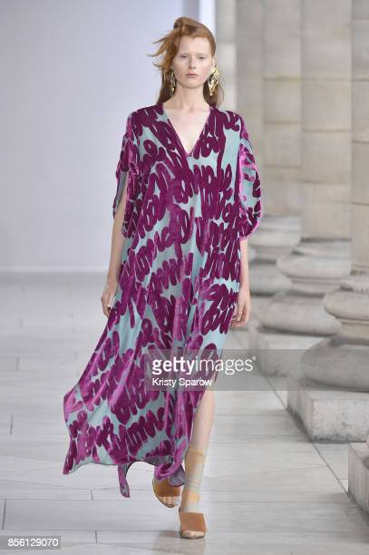 A model walks the runway during the Veronique Leroy show as part of Paris Fashion Week Womenswear Spring/Summer 2018 on September 30 2017 in Paris...