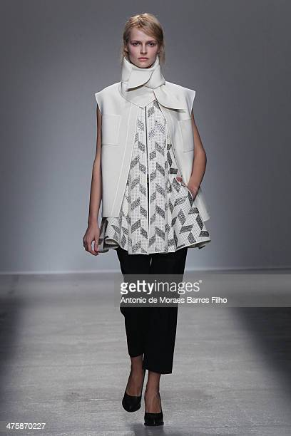 A model walks the runway during the Veronique Leroy show as part of the Paris Fashion Week Womenswear Fall/Winter 20142015 on March 1 2014 in Paris...