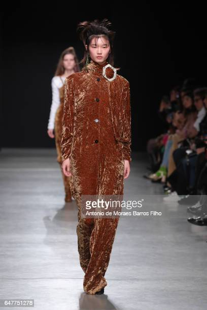 A model walks the runway during the Veronique Leroy show as part of the Paris Fashion Week Womenswear Fall/Winter 2017/2018 on March 4 2017 in Paris...