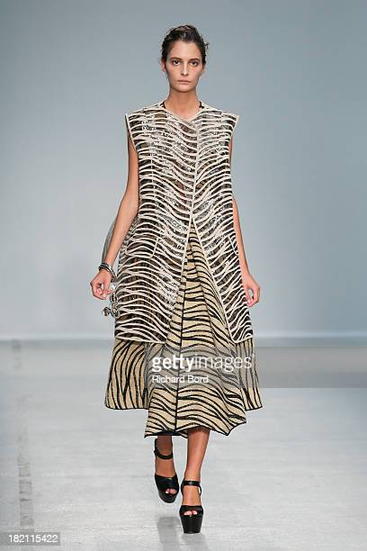 A model walks the runway during the Veronique Leroy show at Palais de Tokyo as part of the Paris Fashion Week Womenswear Spring/Summer 2014 on...