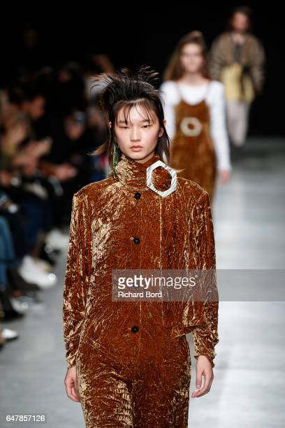 Model walks the runway during the Veronique Leroy show at Palais de Tokyo as part of the Paris Fashion Week Womenswear Fall/Winter 2017/2018 on March...