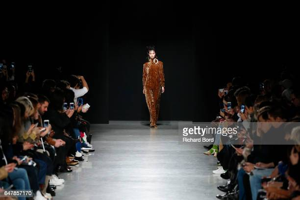 A model walks the runway during the Veronique Leroy show at Palais de Tokyo as part of the Paris Fashion Week Womenswear Fall/Winter 2017/2018 on...