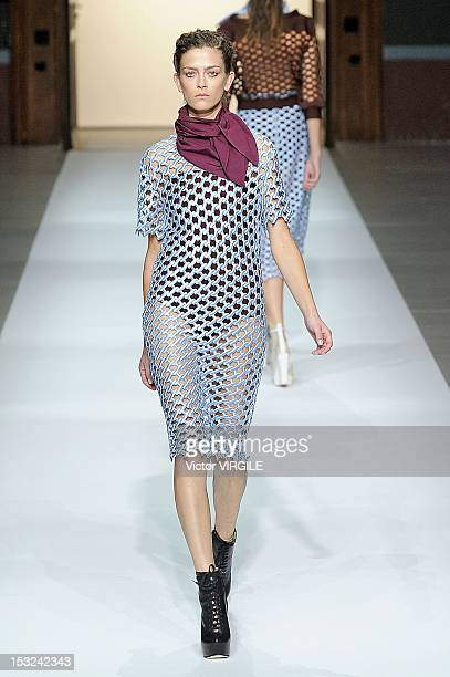 A model walks the runway during the Veronique Leroy Spring / Summer 2013 show as part of Paris Fashion Week at Les BeauxArts de Paris on September 29...