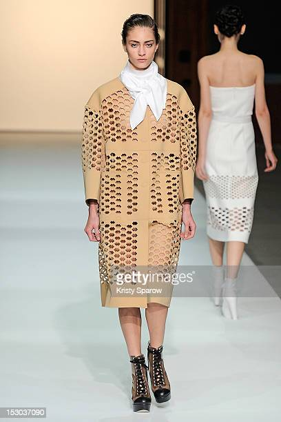 Model walks the runway during the Veronique Leroy Spring/Summer 2013 show as part of Paris Fashion Week at Les Beaux-Arts de Paris on September 29,...