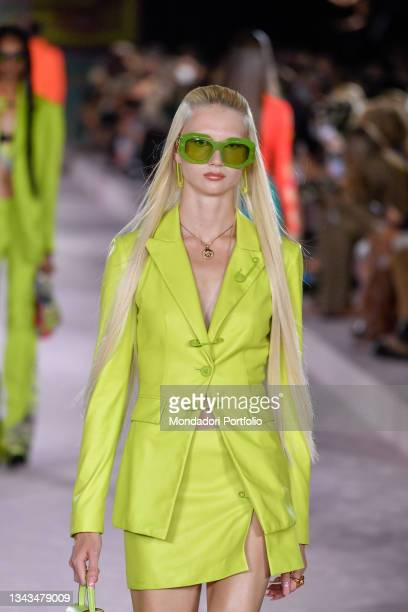 Model walks the runway during the Versace fashion show on the third day of Milan Fashion Week Women's collection Spring Summer 2022 on September 24,...