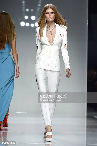 Model walks the runway during the Versace Haute Couture Spring Summer 2016 show as part of Paris Fashion Week on January 24, 2016 in Paris, France.