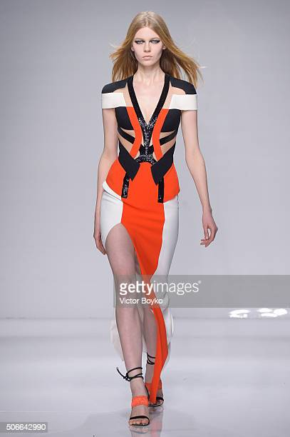 A model walks the runway during the Versace Haute Couture Spring Summer 2016 show as part of Paris Fashion Week on January 24 2016 in Paris France